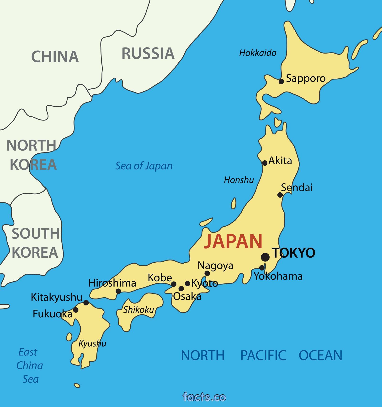 japan kart Japan større byer kart   Japan kart med store byene (Øst Asia   Asia) japan kart