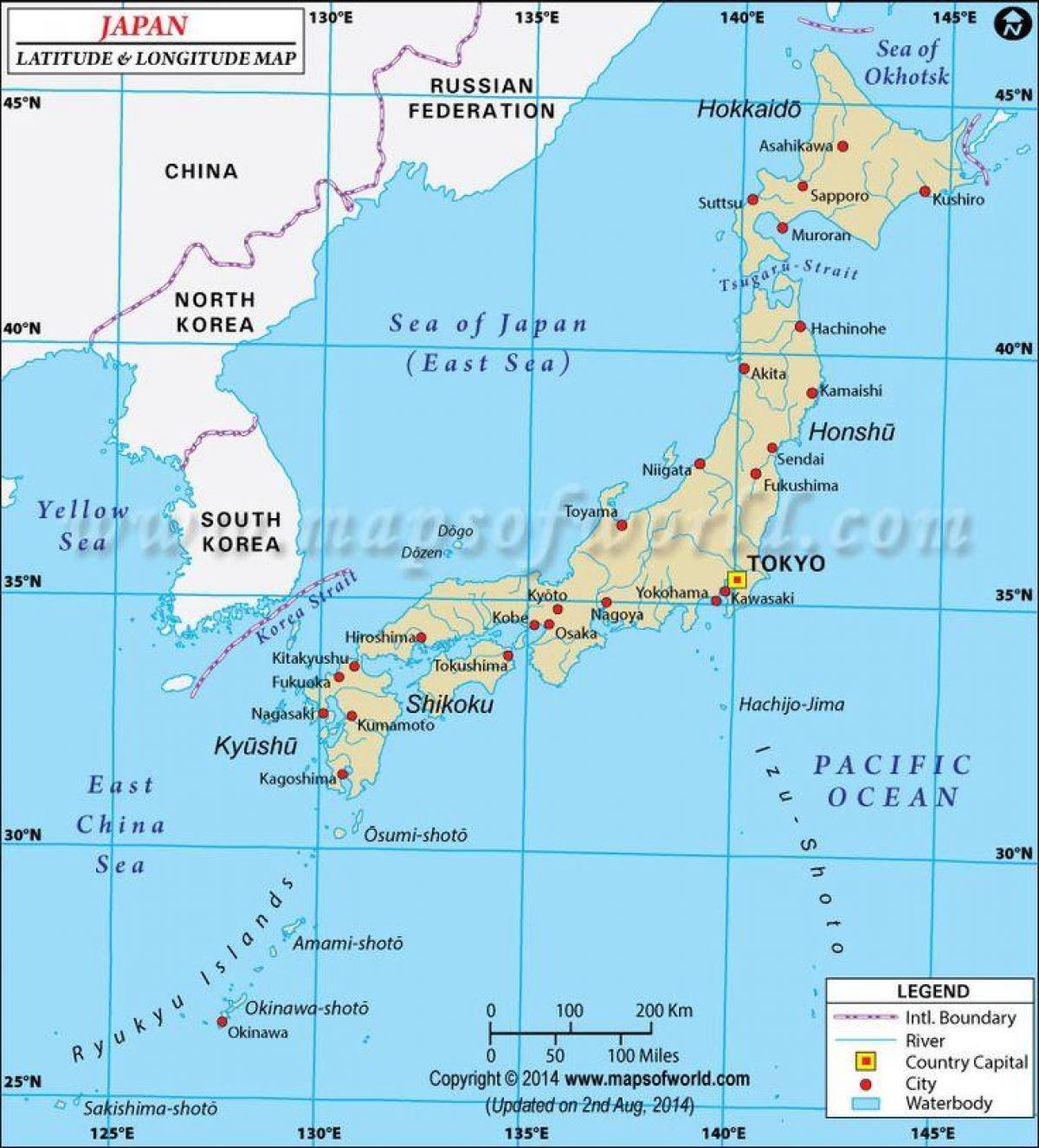 breddegrad kart Japan breddegrad og lengdegrad kart   Japan kart med breddegrad og  breddegrad kart