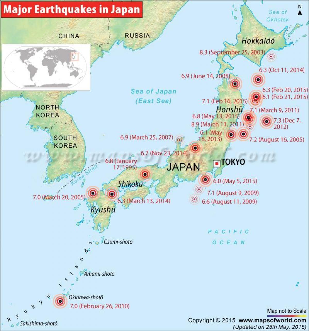 kart japan Japan jordskjelvet kart   Jordskjelv kart japan (Øst Asia   Asia) kart japan
